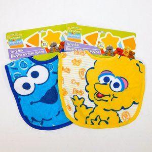 Set 2 Sesame Street  0+ Terry Cloth Baby Bibs NEW